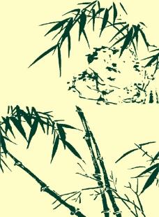 国画竹子山石图片