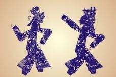 中式皮影剪纸花纹图片