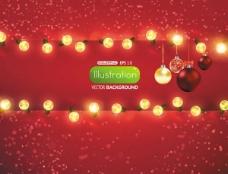 璀璨的圣诞灯光背景矢量素材三