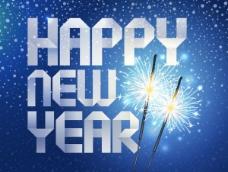 happy new year折纸背景矢量素材