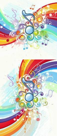 绚丽的音乐花纹背景矢量素材