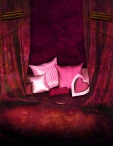 红色抱枕浪漫背景图片