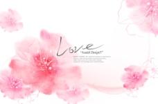 浪漫粉色花卉psd