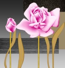 粉色玫瑰三联