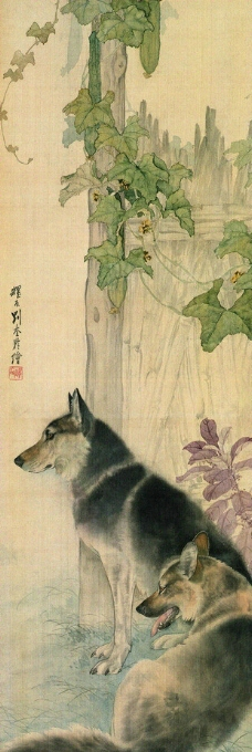 瓜棚双犬图图片