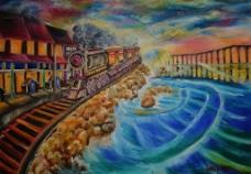 油画 火车图片