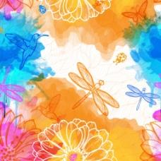 矢量线条蜻蜓花
