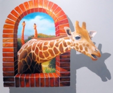 3d壁画长颈鹿图片