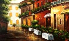 街景油画图片