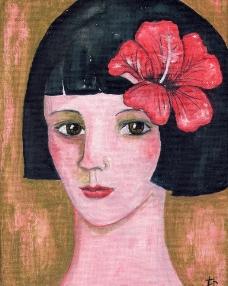 可爱女孩图像油画图片