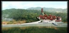 园林寺庙总体效果图图片