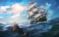 手绘海景图片