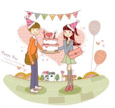 庆祝生日的情侣图片