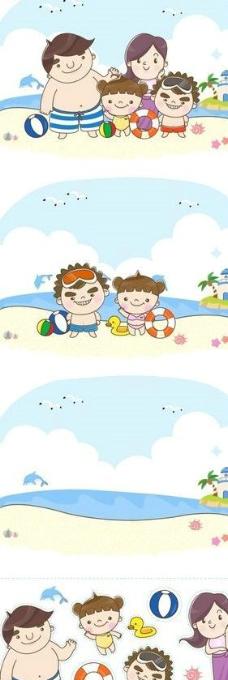 卡通海滩上的一家图片