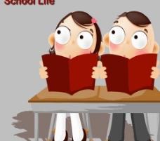 插画 学生 课桌图片