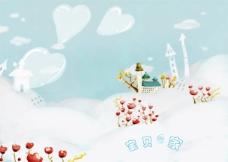 卡通雪地风景免费PSD素材