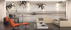 竹树图案 客厅背景墙下载