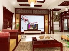 红色中国风客厅 中式室内装修