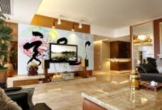 中国风客厅装修 电视背景墙