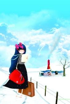 雪地里的卡通美女