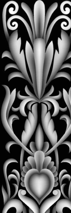 欧式花纹灰度图图片