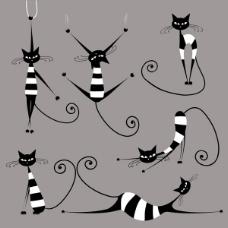 抽象动物猫素描线条猫表情猫黑白图片
