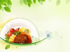 健康饮食淡雅绿色PPT模板