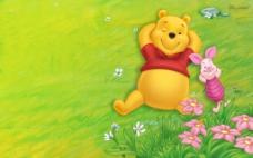 快乐维尼熊 迪斯尼卡通背景图片