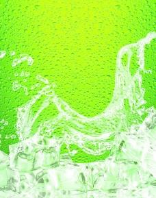 绿色背景的啤酒冰图案图片