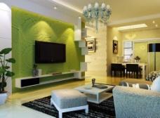 绿色电视背景墙