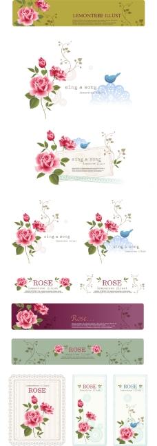 玫瑰花主题矢量素材