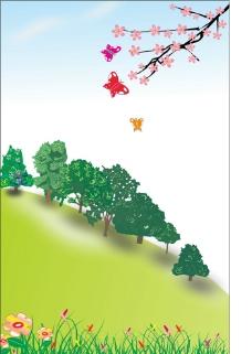 花朵蝴蝶小草图片