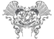 超酷矢量图骷髅与蛇图片