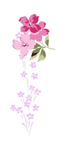手绘水彩草莓花叶psd分层素材