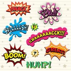 英文常用夸张漫画对话文字框