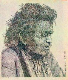 老人钢笔画图片