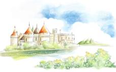 卡通河边城堡背景