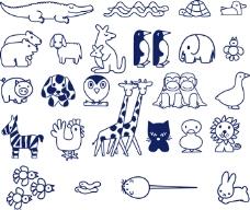 卡通动物涂鸦简笔画矢量素材