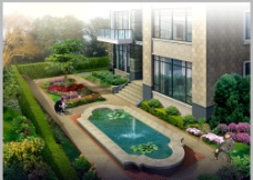 景观中庭喷泉设计图片