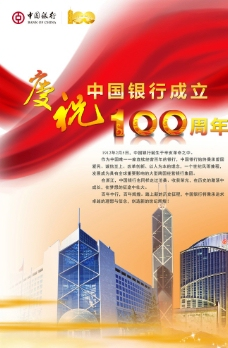 中国银行成立百年海报图片