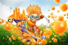 果粒橙广告海报