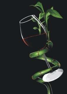 竹子藤绕的酒杯图片