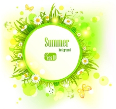 草地鲜花太阳 夏日背景图片