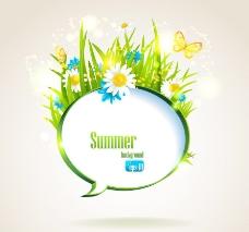绿草鲜花蝴蝶夏日背景图片