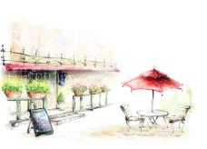 街头的咖啡座