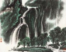 蜀山飞瀑图片