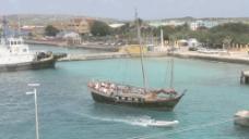 博内尔岛的船在克拉伦代克港口库存的录像
