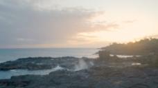在波普海滩股票视频的夕阳