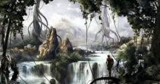 森林 手绘 插画图片
