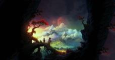 风景 手绘 插画图片